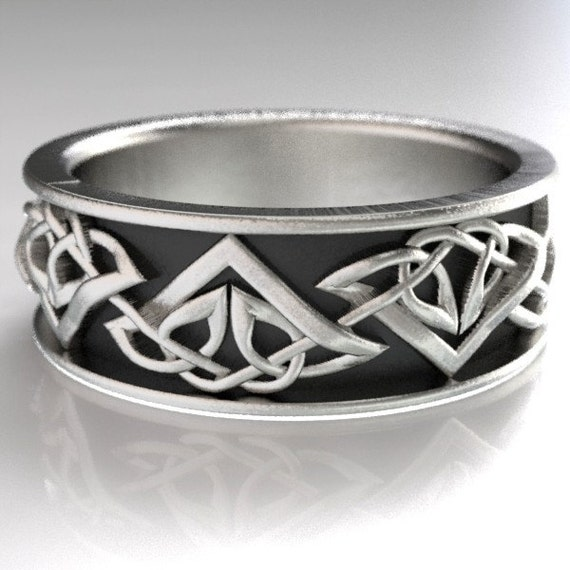 Celtic Wedding Ring With Tribal Triangle Knot Design in Sterling Silver, Made in Your Size CR-1122