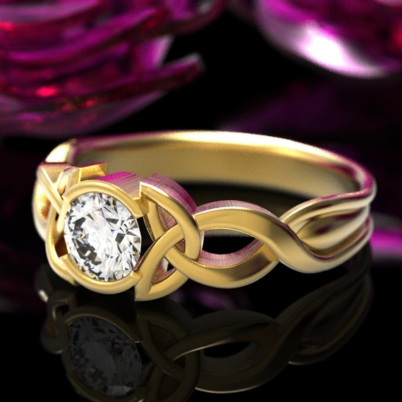 Gold Celtic Moissanite Engagement Ring With Trinity Knot Design in 10K 14K 18K or Platinum, Made in Your Size CR-405b