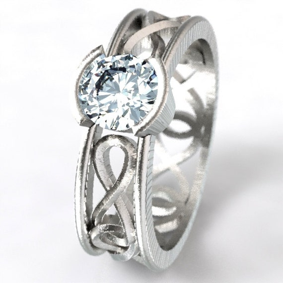 Celtic Moissanite Ring With Infinity Symbol Design in Sterling Silver, 10K 14K 18K Gold or Platinum Made in Your Size CR-1027