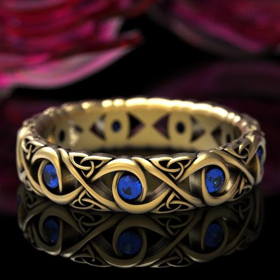 Celtic Blue Sapphire Infinity Knot Wedding Ring, Sapphire Wedding Band, Infinity Wedding Band, Infinity Ring 10K 14K 18K Gold Platinum 1409