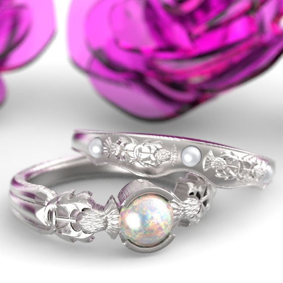 RESERVED FOR Bethany Thistle Opal & Pearl Ring Set, Sterling Silver Scottish Solitare, Floral Wedding Ring, Thistle Engagement Band 5062