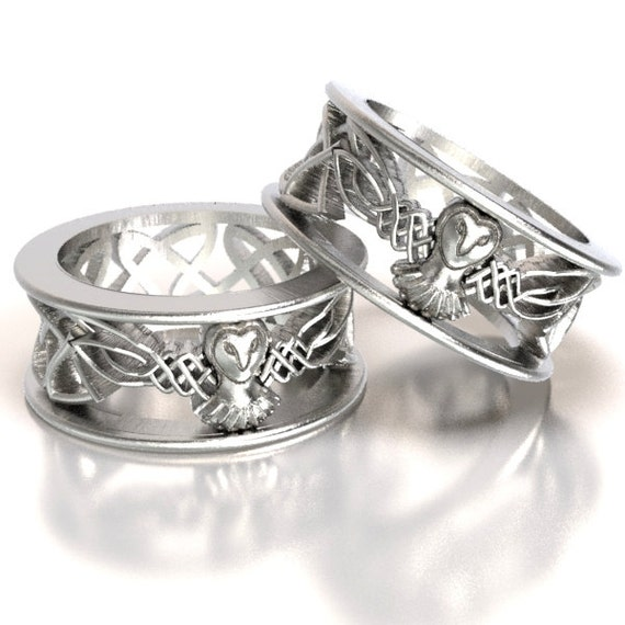 Sterling Silver Owl Wedding Ring Set, His and Hers Wedding Bands, Celtic Wedding Rings, Silver Owl Ring Set, Irish Wedding Bands, CR-1016