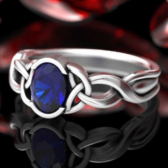 Oval Sapphire Ring, Celtic Engagment Ring, Celtic Knot Ring, Celtic Trinity Knot Sapphire Ring, Sterling Sapphire Engagement Ring 405b