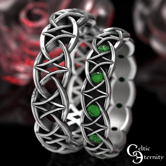 Emerald Celtic Wedding Band Set, Sterling Modern Viking Ring, Emerald Infinity Band, Matching His Hers Wedding Ring, Eternity Ring 1036 + 99