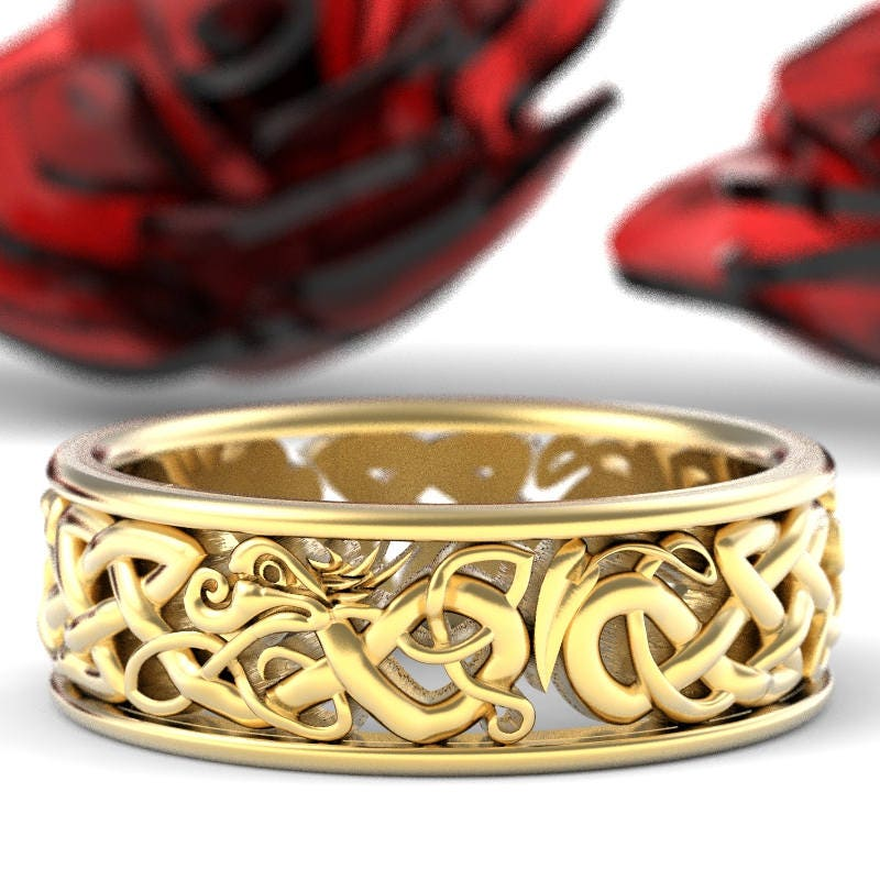 Gold Celtic Dragon Ring Womens Wedding Band Mens Wedding
