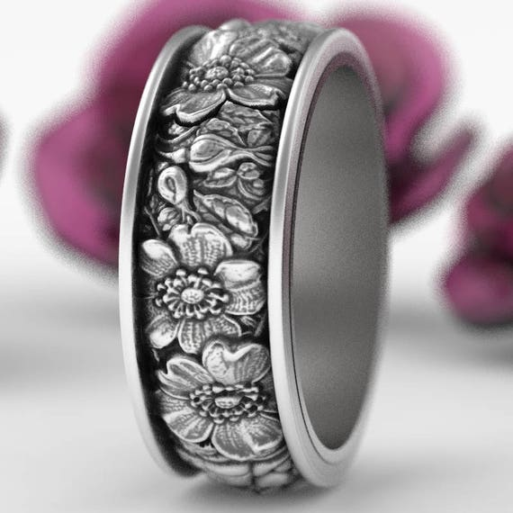 Rose Bouquet Ring, Floral Sterling Silver Ring, Rose Wedding Band, Silver Rose Ring, Nature Inspired Wedding Ring, Custom Ring Size 5020