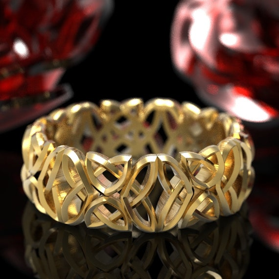 Celtic Wedding Ring With Open Edged Laced Dara Knotwork Design in 10K 14K 18K Gold or Platinum Made in Your Size CR-646