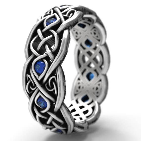 Infinity Wedding Band With Blue Sapphires, 925 Sterling Silver Celtic Ring, Unique Wedding Ring, Celtic Wedding Band Handcrafted Size 1052