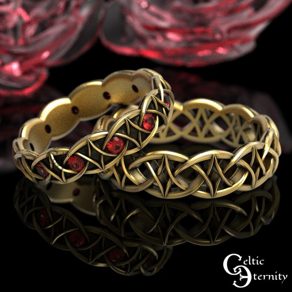 Ruby & Gold Celtic Wedding Band Set, 10K 14K 18K Gold Platinum Ring Set, His Hers Modern Ruby Gold Ring Set, Gold Infinity Band, 99 + 1036
