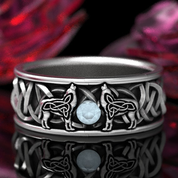 RESERVED FOR Andrew Gold Celtic Wolf Ring with Rainbow Moonstone, 10k White Gold Knot Rings Custom Size 1170