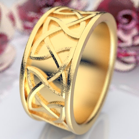 Celtic Wedding Ring Raised Relief Endless Dara Knotwork in 10K 14K 18K Gold, Palladium or Platinum Wedding Ring Made in Your Size CR-35