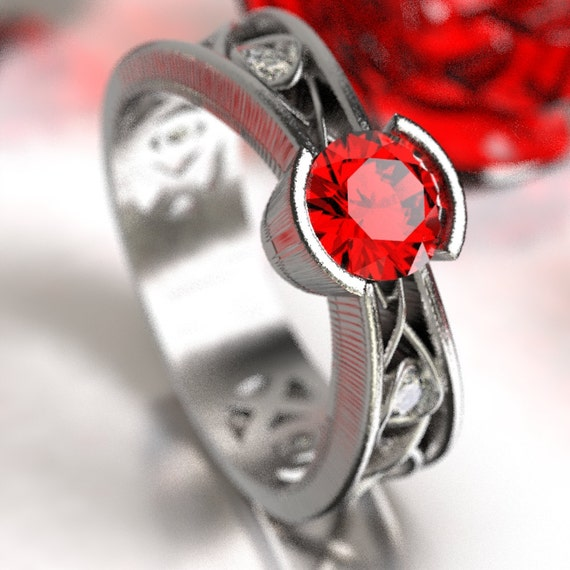 Moissanite And Ruby Ring With Celtic Infinity Symbol Design in Sterling Silver, Made in Your Size 1092