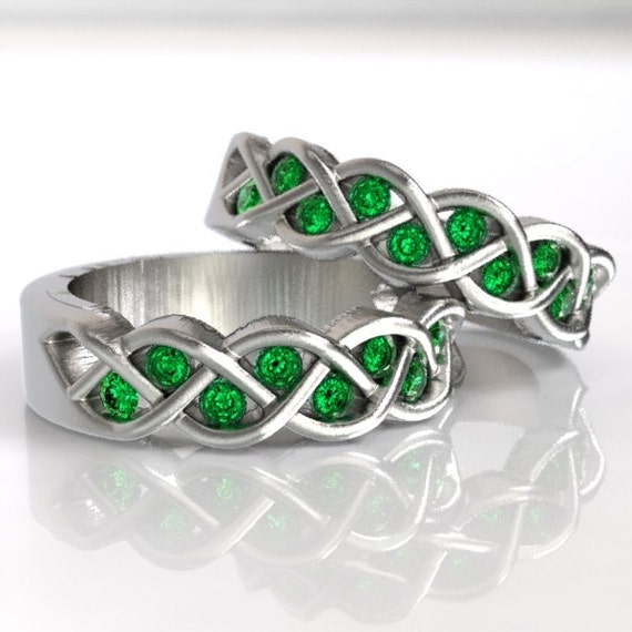 Celtic Wedding Ring Set Emerald Stones Braided Knot Design in Sterling, 10K 14K 18K Gold, Palladium or Platinum Made in Your Size  CR-1005