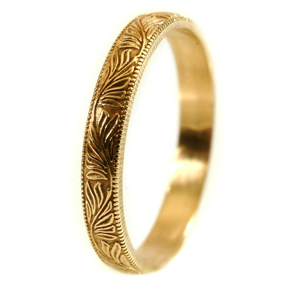 Gold Vintage Style Ring, Thin Wedding Band, Leaf Ring,  Gold or Palladium Wedding Band, Petite Gold Ring, Made in Your Size Cr-5030