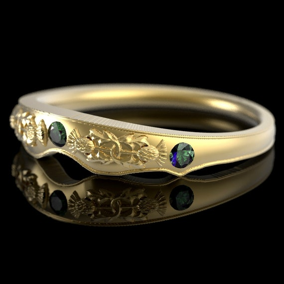 RESERVED FOR Bill, Custom Matching Thistle Ring, 10K Yellow Gold & Alexandrite, Handcrafted Rings, Thistle Engagement Band 5062M