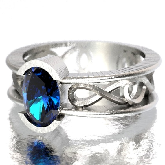Celtic Wedding Ring with Blue Sapphire Stone and Inifinty Knot Design in Sterling Silver, Made in Your Size CR-13d