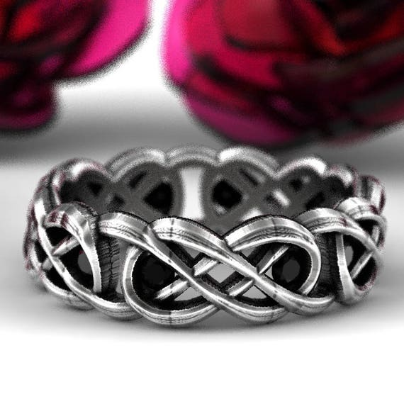 Celtic Black Spinel Infinity Ring Design in Sterling Silver, Infinity Knot Ring, Celtic Infinity Wedding Band, Made in Your Size CR-1069