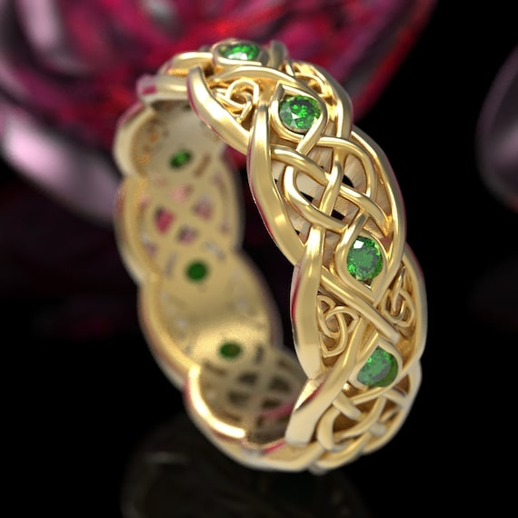 Infinity Wedding Band With Emeralds, Gold Celtic Ring, Unique Wedding Ring, Celtic Wedding Band, Made 10K 14K 18K Gold or Platinum CR1052