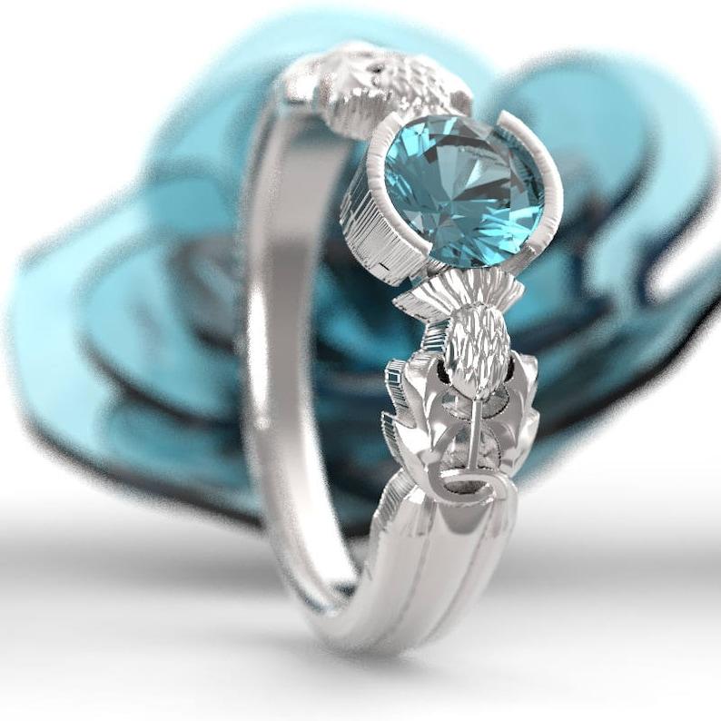 62522cad33f Thistle Engagement Ring 10K 14K or 18K Gold   Aquamarine