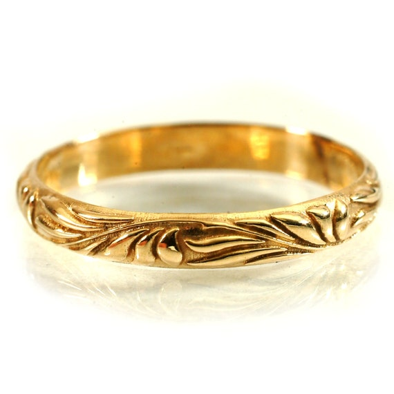 Gold Stacking Ring Flowing Art Nouveau Design in 10K 14K 18K or Palladium, Made in Your Size Cr-5039
