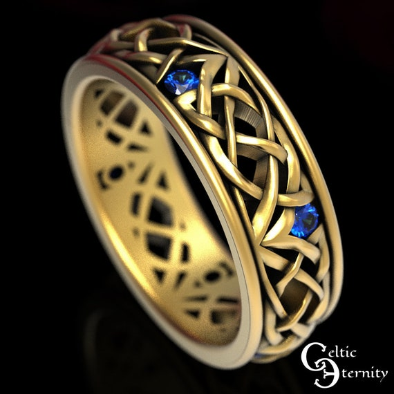 Gold Celtic Wedding Ring, Sapphire Wedding Band, Celtic Wedding Band, Platinum Celtic Ring, Sapphire Celtic Ring, Men Gold Wedding Band,1506