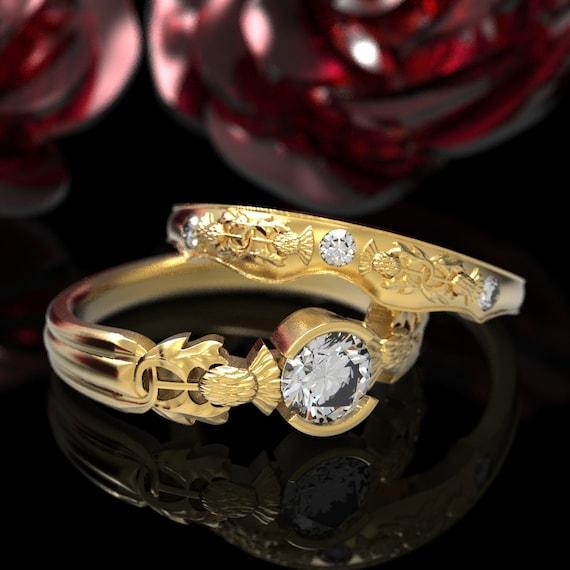 Thistle Engagement Ring Set, 10K 14K 18K Gold & Moissanite, Scottish Solitare, Floral Wedding, Handcrafted Rings, Platinum Thistle Ring 5062