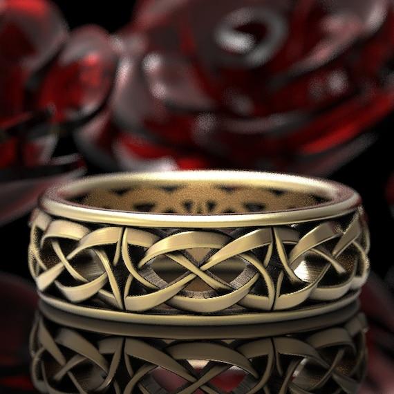 Modern Celtic Wedding Band, Celtic Dara Knot Ring, Woven Celtic Wedding Ring, Unbroken Celtic Knot Ring, Gold 10K 14K 18K or Platinum 1302