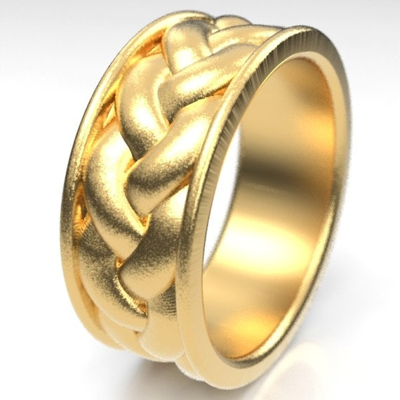 Gold Celtic Braid with Border Wedding Ring Design in 10K 14K 18K or Palladium, Made in Your Size CR-1060