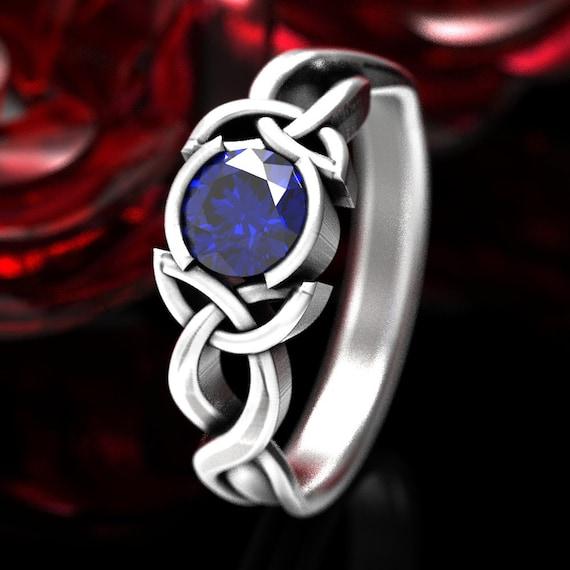 Celtic Engagment Ring, Celtic Sapphire Ring, Celtic Knot Ring, Celtic Trinity Knot Sapphire Ring, Sterling Sapphire Engagement Ring 405b