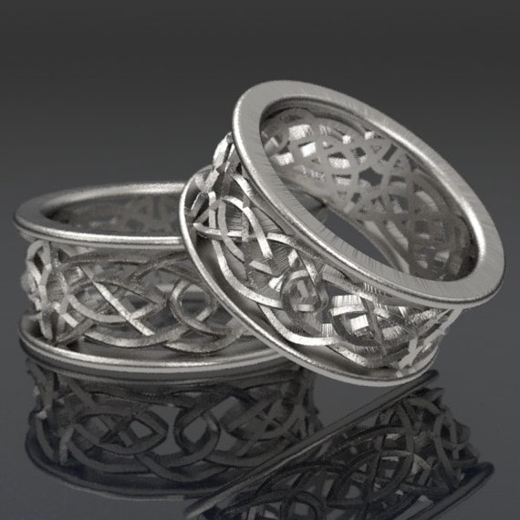 Celtic Wedding Ring Set With Intricate Swirl Cut-Through Knotwork Design in Sterling Silver, Made in Your Size CR-111