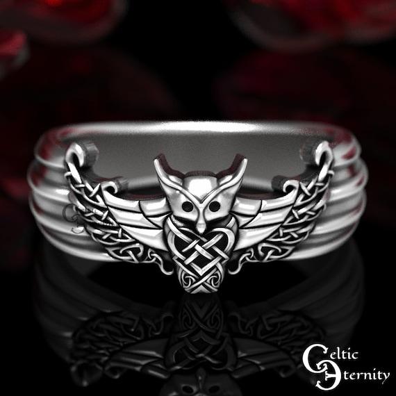 Odin Viking Owl Ring, Viking Wedding Band, Men's Viking Ring, Celtic Sterling Wedding Band, Silver Owl Ring, Celtic Owl Ring, 1479