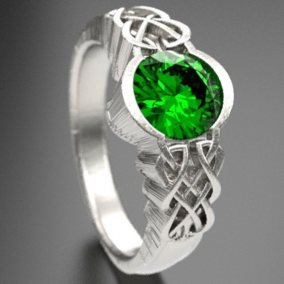 Celtic Emerald With Dara Knot Style Design in Sterling Silver, Made in Your Size CR-1032