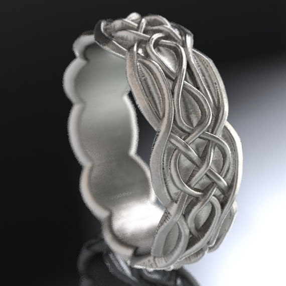 Celtic Wedding Ring With Infinity Symbol Pattern & Quaternary Celtic Knots in Sterling Silver, Made in Your Size CR-1053