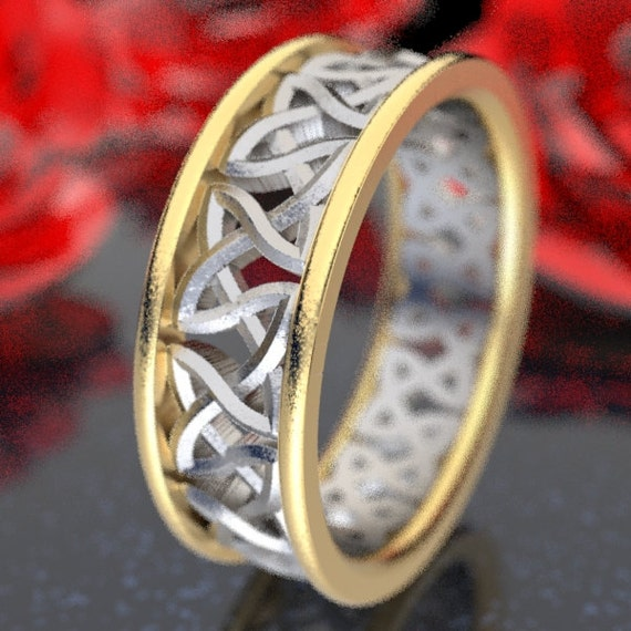 2-Tone Gold Wedding Ring With Cut-Through Celtic Woven Knotwork Design in 10K 14K 18K Gold, Two-Tone Wedding Band, Made in Your Size CR-37