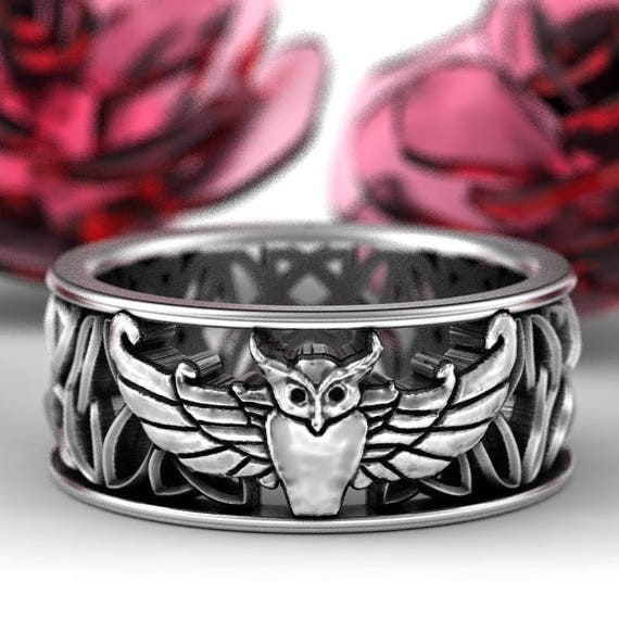 Owl Wedding Band in Sterling Silver, Celtic Owl Ring, Silver Owl Ring, Owl Gifts, Owl Jewelry, Celtic Knot Ring, Custom Size 1190