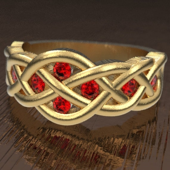 Celtic Ruby Wedding Ring With Woven Knotwork Design in 10K 14K 18K Gold or Platinum Made in Your Size CR-764
