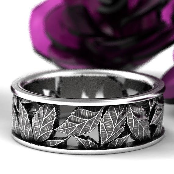 Leaf Ring Wedding Ring Custom Made With Cherry Tree Leaves in Sterling Silver, Made in Your Size 5103