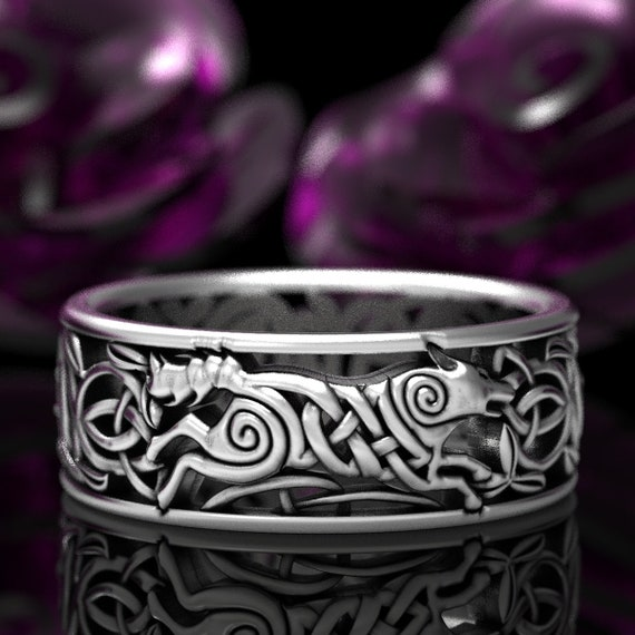 Celtic Wolf Ring, Wolf Knot Celtic Wedding Ring, Wolf Wedding Band, Dark Souls Wolf Ring, Viking Wolf Ring, Sterling Celtic Wolf Ring 1298