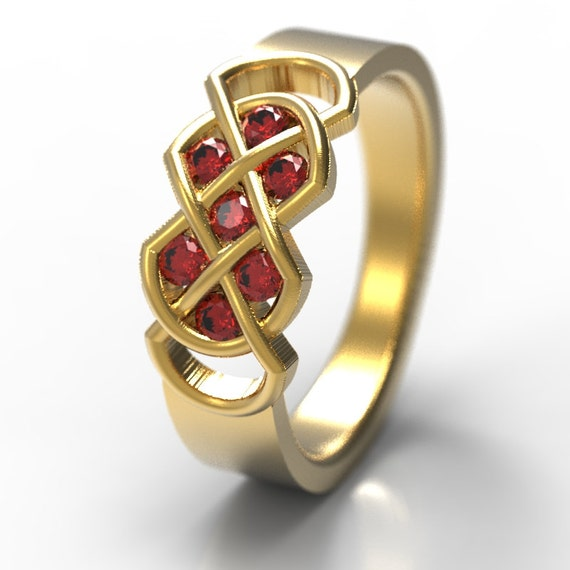 Celtic Ruby Wedding Band With Infinity Knot Design in 10K 14K 18K Gold, Palladium or Platinum Made in Your Size CR-771