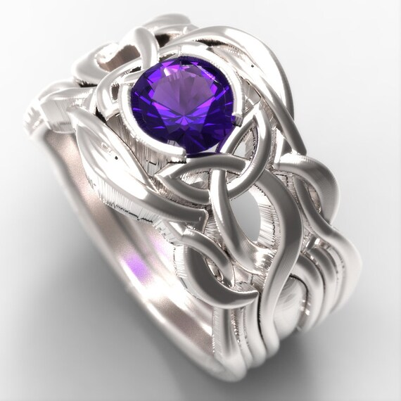 RESERVED FOR Erika 2 Payments Amethyst Engagement Ring and Double Band Set, Sterling Silver, Handcrafted in Your Size CR-405b