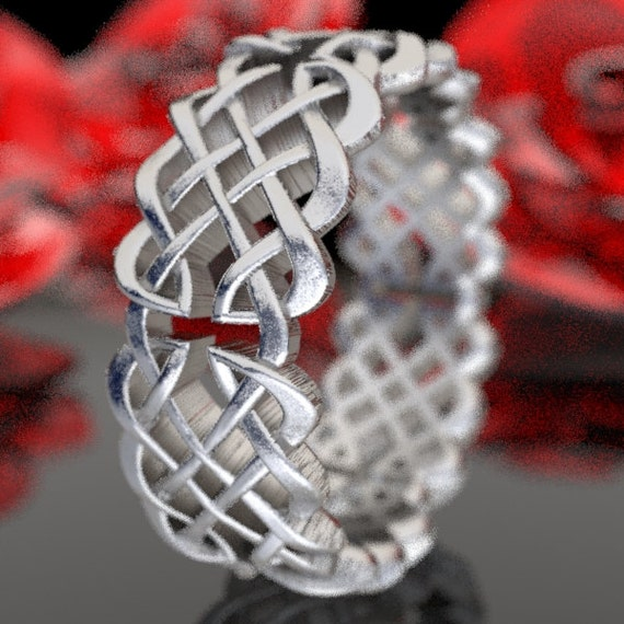 Woven Celtic Knot Infinity Wedding Band in Sterling SIlver, 10K 14K 18K Gold or Platinum  Made in your size CR-1041