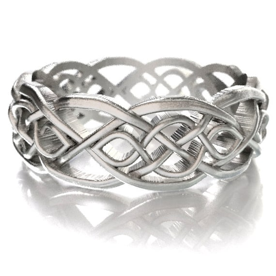 Celtic Wedding Ring With Cut-Through Infinity Symbol Pattern in Sterling Silver, Made in Your Size CR-1051
