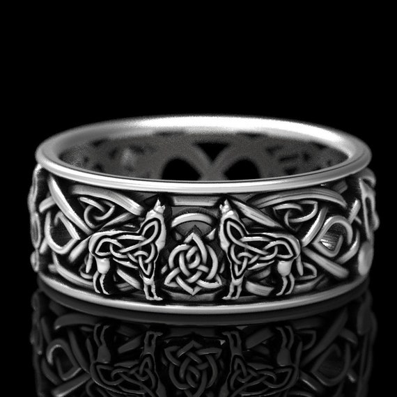 RESERVED FOR Nikki 5 Payments for Custom Design with Celtic Wolves, Infinity Knotwork, and Musical Notes in Palladium, CR 1096