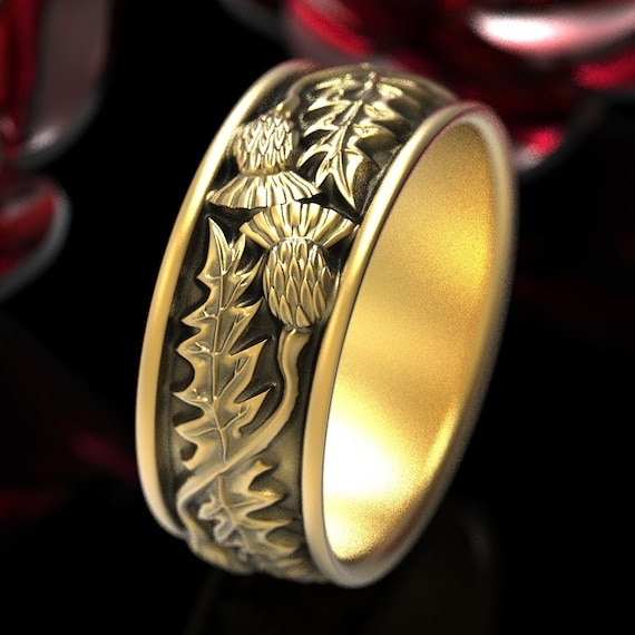 Gold Thistle Ring, Scottish Ring made in 10K 14K or 18K Gold , Outlander Inspired Ring, Thistle Flower Ring, Handcrafted Rings, 1316