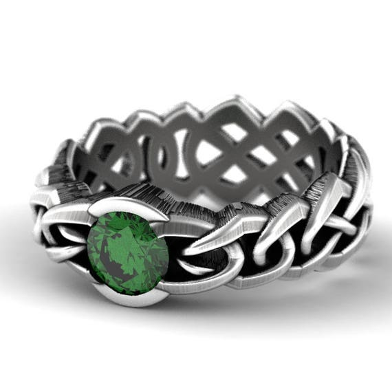 Celtic Cut-Through Quaternary Knot Design Ring  Emerald in Sterling SIlver, 10K 14K 18K Platinum, or Palladium, Made in Your Size Cr-1066c