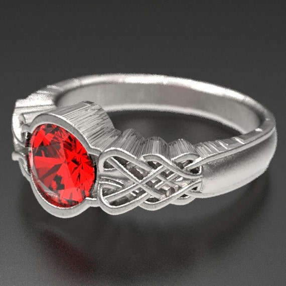 Celtic Ruby Engagement Ring, Dara Celtic Knot Style Design in Sterling Silver, Made in Your Custom Size CR-1032