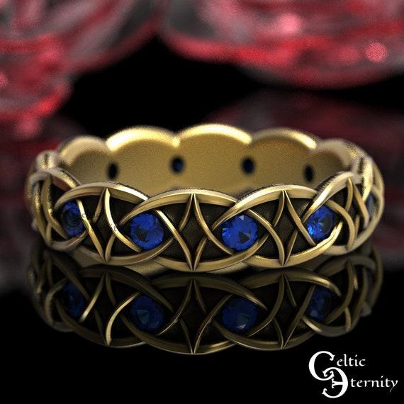 Sapphire & Gold Celtic Wedding Band, Unique Wedding Ring, 10K 14K 18K Gold Platinum Band, Modern Gold Ring, Gold Infinity Knotwork Band 1036