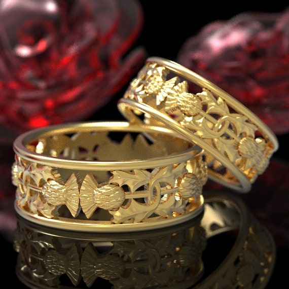 Thistle Ring Set of 2 Gold Rings, 10K 14K or 18K Scottish Ring, Unique Rings, Botanical Jewelry, Handcrafted Rings, Platinum or Gold 5056