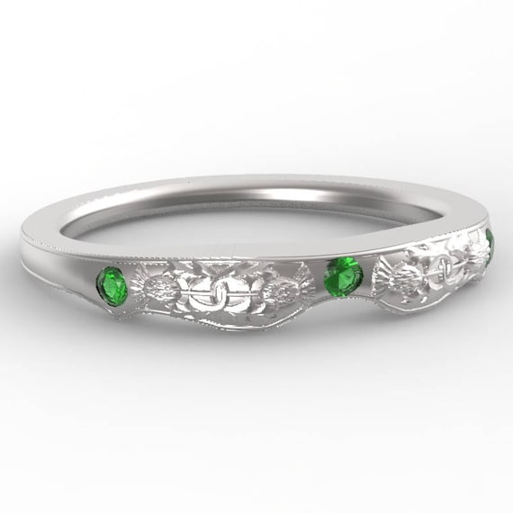 Matching Thistle Ring, Sterling Silver & Emerald, Scottish Matching Ring, Floral Wedding, Handcrafted Rings, Thistle Engagement Band 5062M