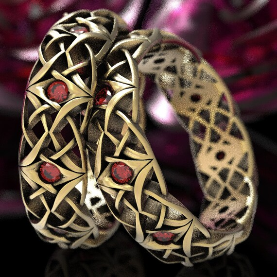Celtic Ruby Wedding Ring Set, Celtic Eternity Bands with Rubies, Matching Celtic Knot Rings, Gold with Rubies 10K 14K 18K or Platinum 1300